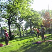 Yoga in the Park participants in Shaker Heights