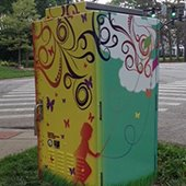 Painted utility box in Shaker Heights