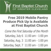 Graphic with dates and times for produce pick up at First Baptist