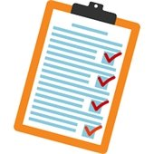 Graphic of clip board with completed questionnaire
