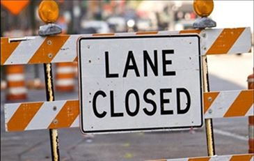 Lane closed sign