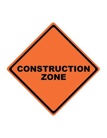 Sign reading construction zone.