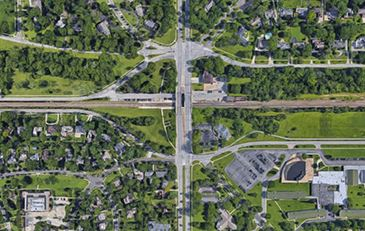 Satellite map of Warrernsville Center Rd. and Shaker Blvd. intersection