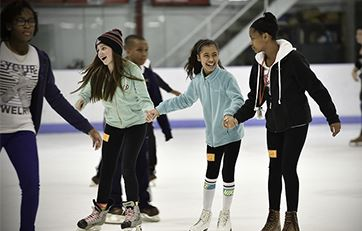 Girls skating at Thornton Park Ice Arena
