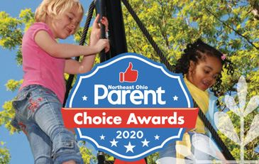 Photo of two girls playing at Horseshoe Lake Park overlayed with Parents Choice Award logo