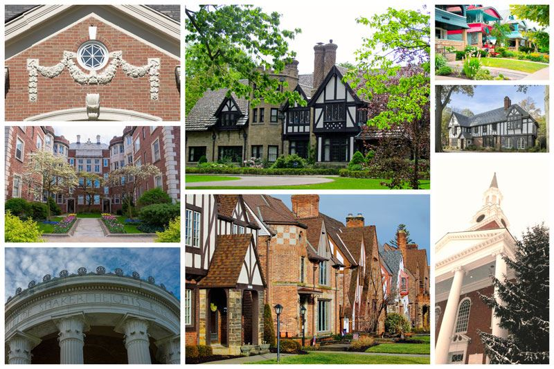 Collage of homes and public buildings on self-guided tours